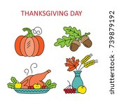 icons thanksgiving day. vector... | Shutterstock .eps vector #739879192