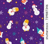 seamless pattern of funny... | Shutterstock .eps vector #739887346