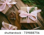 lots of gift boxes on wooden... | Shutterstock . vector #739888756