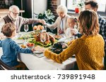 happy beautiful family praying... | Shutterstock . vector #739891948