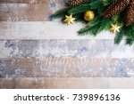 christmas background with... | Shutterstock . vector #739896136