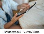 tablet  business woman          ... | Shutterstock . vector #739896886