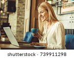blonde business woman is... | Shutterstock . vector #739911298