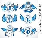 heraldic vector signs decorated ...   Shutterstock .eps vector #739912786