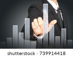 businessman with financial... | Shutterstock . vector #739914418