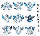 vector vintage heraldic coat of ...   Shutterstock .eps vector #739915102
