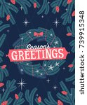 christmas greeting card with... | Shutterstock .eps vector #739915348