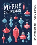 christmas greeting card with... | Shutterstock .eps vector #739915408