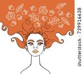 girl. autumn leaves and acorns. | Shutterstock .eps vector #739916638