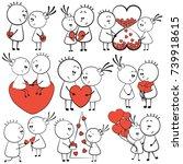 collection cartoon figure... | Shutterstock .eps vector #739918615