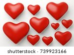 a lot of red hearts on white... | Shutterstock . vector #739923166