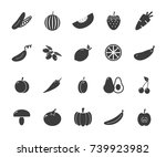 set of monochrome vegetable... | Shutterstock .eps vector #739923982