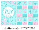 calendar 2018 in marine style ... | Shutterstock .eps vector #739925908