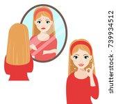 unhappy girl  looking into...   Shutterstock .eps vector #739934512