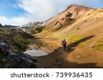 woman traveler with backpack in ... | Shutterstock . vector #739936435