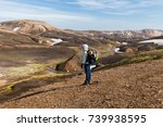 woman traveler with backpack in ... | Shutterstock . vector #739938595