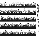 set of grass silhouettes with... | Shutterstock .eps vector #739941055