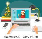 illustration with desk and... | Shutterstock .eps vector #739944328