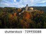 aerial view on  castle sovinec  ...   Shutterstock . vector #739950088