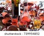 wine tasting between red ivy... | Shutterstock . vector #739954852
