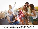 group of happy friends having...   Shutterstock . vector #739956016