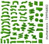 green web ribbon set | Shutterstock . vector #739956802