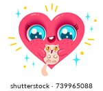 vector heart in kawaii style.... | Shutterstock .eps vector #739965088