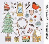 winter elements and christmas... | Shutterstock .eps vector #739966702