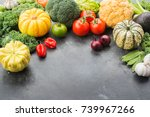 top view of vegetables on the... | Shutterstock . vector #739967266