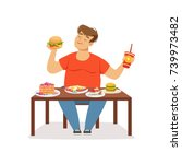 fat obese man eating fast food  ... | Shutterstock .eps vector #739973482