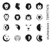 brave lion king faces emblems... | Shutterstock .eps vector #739977478