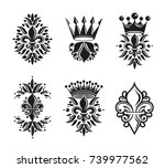 royal symbols lily flowers ... | Shutterstock .eps vector #739977562