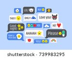 cloud of messages with cute... | Shutterstock .eps vector #739983295