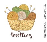 balls of yarn and knitting... | Shutterstock .eps vector #739984366