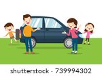 traveling family. a young... | Shutterstock .eps vector #739994302