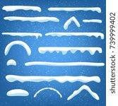 set snow caps  snowballs and... | Shutterstock .eps vector #739999402