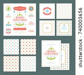 christmas labels and badges... | Shutterstock .eps vector #740003656
