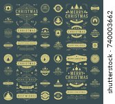 christmas labels and badges... | Shutterstock .eps vector #740003662