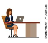 office woman at desk working at ... | Shutterstock .eps vector #740006938