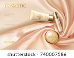 soft 3d realistic cosmetic ad.... | Shutterstock .eps vector #740007586