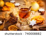 cup of hot winter spiced tea ... | Shutterstock . vector #740008882