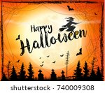 scary halloween background with ... | Shutterstock .eps vector #740009308