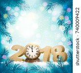 new year background with a 2018 ... | Shutterstock .eps vector #740009422