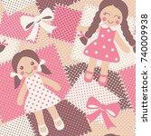 vintage rag dolls seamless... | Shutterstock .eps vector #740009938