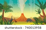 active volcanoes with lava ... | Shutterstock .eps vector #740013958