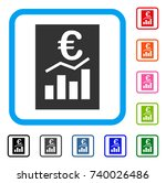 euro sale report icon. flat... | Shutterstock .eps vector #740026486