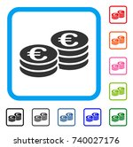 euro coin stacks icon. flat...