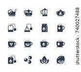 tea related vector icon set in... | Shutterstock .eps vector #740027488