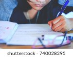 close up secondary school girl '... | Shutterstock . vector #740028295