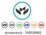 flora care hands rounded icon.... | Shutterstock .eps vector #740028982